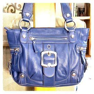 B. Makowsky blue leather beautiful medium satchel